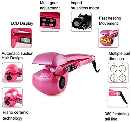 Xiaochongshan Automatic Rotary steam curlers, Hair Ceramic Spiral, Best curlers, Universal Voltage, Professional Rod Spiral Curler Styling (Color : Pink)