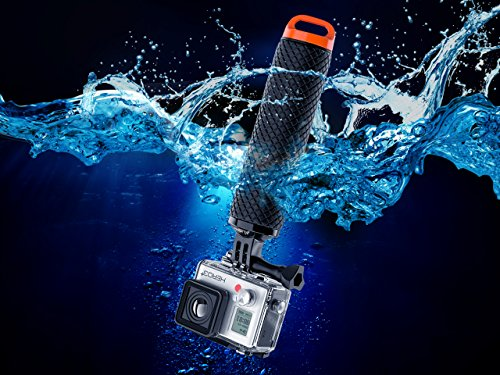 Waterproof Floating Hand Grip Compatible with GoPro Hero 8 7 6 5 4 3 3+ 2 1 Session Black Silver Camera Handler & Handle Mount Accessories Kit for Water Sport and Action Cameras (Orange)