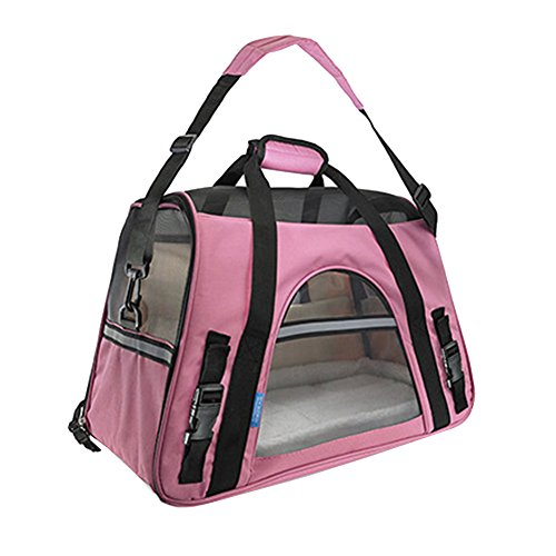 Soft-Sided Pet Carrier Travel Bag Puppy Handbag Portable Carrying Case Pink Small