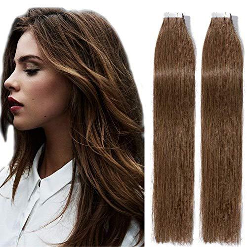 Tape Extensions Echthaar Klebe Haarverlängerung Glatt Weich Haarteil Natürlich Haarverlängerung 2,5g/Pcs 40Pcs/Pack 45cm 06# Hellbraun