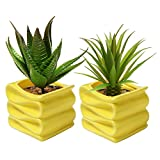 MyGift 4-Inch Yellow Modern Decorative Folded Design Small Ceramic Plant Pot/Flower Planter, Set of 2