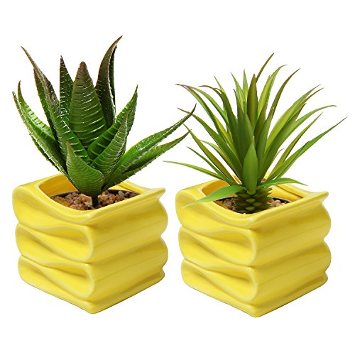 MyGift 4-Inch Yellow Modern Decorative Folded Design Small Ceramic Plant Pot/Flower Planter, Set of 2