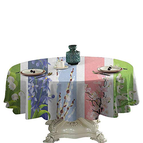 Flower Wrinkle Free Tablecloths Spring Flowers on Different Backgrounds Lily Blossoms Valley Primrose Floral Print Fabric Tablecloth Round Tablecloth 70 inch