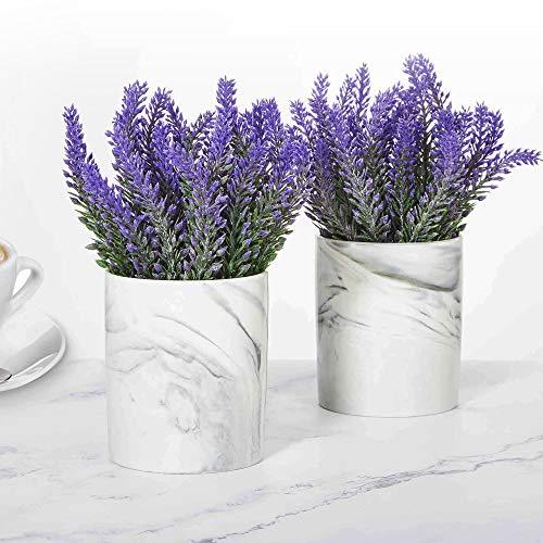 LUEUR Artificial Flower Potted Lavender Purple Fake Flowers Faux Lavenders in Pots for Home Decor Party Wedding Garden Office Patio Decoration (Ceramic 2set)