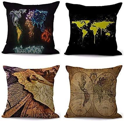 MKXF Fundas de Lino Fundas de Almohada cuadradas Juego de 4 decoración del hogar para sofá decoración de Dormitorio de Coche 45 x 45 cm