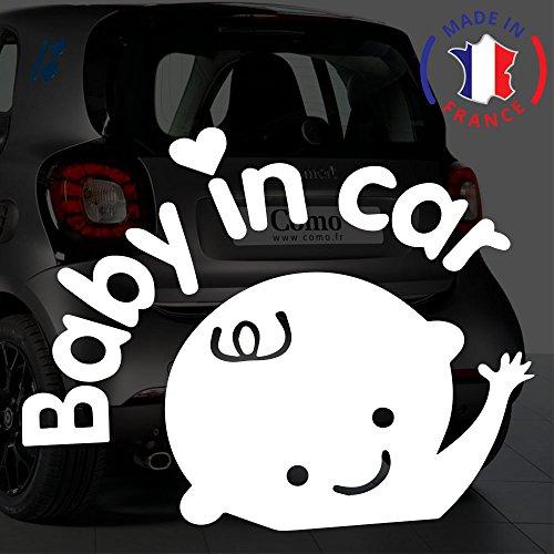 Sticker Bébé à bord pour voiture Baby In Car Cils 20 cm Blanc - Anakiss