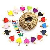 RuiLing Photo Craft Decoration Clips Set - 50pcs Colorful Mini Heart Love Wooden Clothespin + 10pcs Thumbtack + 1 Roll Hemp Rope