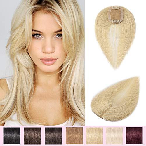 35cm Prótesis Capilares para Mujeres Extensiones de Pelo Humano Base de seda Hair Topper 100% Remy Pelo Clip-6 * 9cm, 23g,#613 Blanqueador Rubio