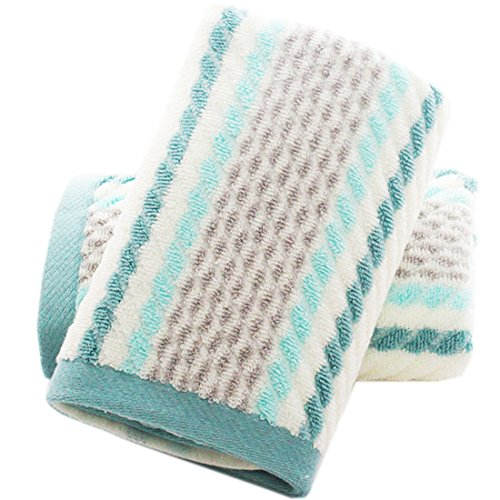 Pidada Hand Towels Set of 2 Striped Pattern 100% Cotton Super Soft Highly Absorbent Hand Towel for Bathroom 13.4 x 29.5 Inch (Green)
