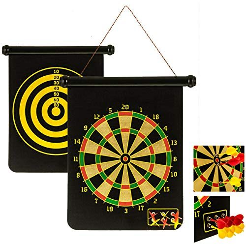 Almineez 2 in 1 Reversible Magnetic Roll Up Dartboard Game With 6 Target Darts Hanging Dart Board – Safe to Play – Hangs on Door or Wall - Fun Friends Party Kids Adults Game Travel Home Toy