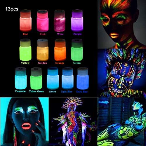Bodypainting, 13 Pieces Face Paint Body Fluorescent Glow in the Dark Color Set, Self-Luminous Bodypainting Set for Halloween Cosplay Costumes Party