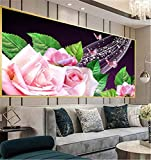5D DIY Diamond Painting Kit Grande Completo Flor de hoja verde rosa,Pintura Diamante de imitación Adultos Bordado Punto de Cruz Mosaico Art Crafts for Home Wall Decor Square Drill_(40x120cm,16x48inch)