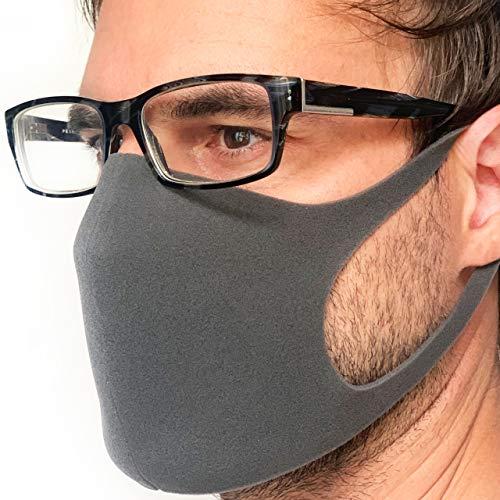 STELLENBERG DESIGN Behelfsmaske aus leichtem Schaumstoff sofort lieferbar wiederverwendbar waschbar Brillenträger atmungsaktiv unisex Alltagsmaske fashion dunkelgrau