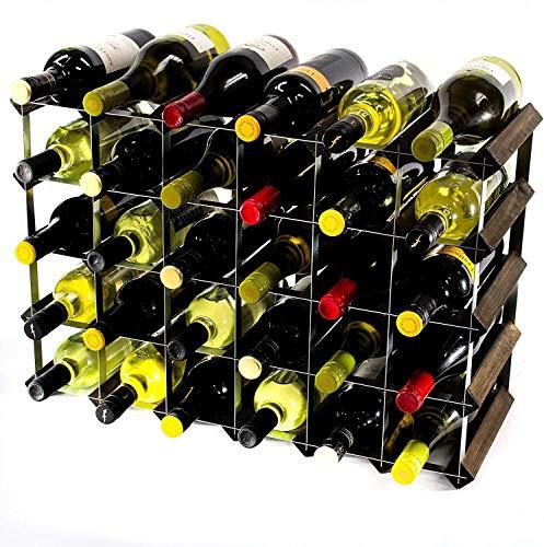 GLYYR Weinregal Klassische 30 (6x4) Flasche dunkle Eiche Buntes Holz und verzinktes Metallwein-Rack bereit montiert