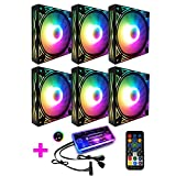 COOLMOON Ventilador RGB de Onda Gigante Ventilador de chasis de 12 cm Computadora de Escritorio Silenciador Sinfonía Que Cambia de Color Ventilador, Controlador (Color : 6 Fan)