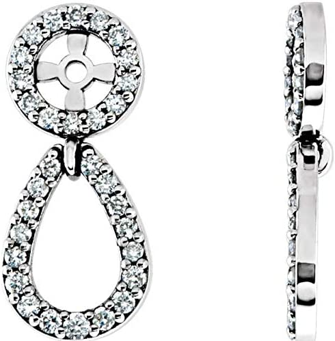 14K White Gold 1/3 CTW Diamond Earring Jackets Accented Earring Jackets