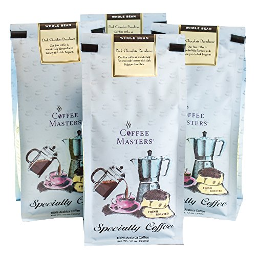 Coffee Masters Flavored Coffee, Dark Chocolate Decadence, Whole Bean, 12-Ounce Bags (Pack of 4)