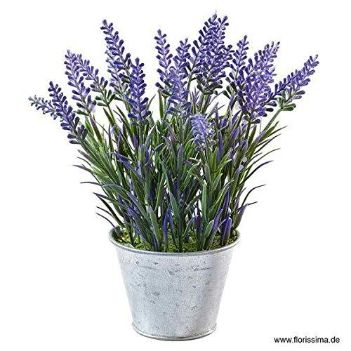 Kleine Kunstpflanze/Dekopflanze im Zink Topf - Tolle Auswahl - Künstlich & Naturgetreu - Kräuter/Kräutertöpfe - Unecht - Hochwertige Tischdeko/Küchendeko (Lavendel - Höhe: 20cm)
