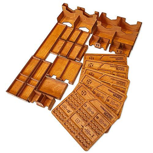 Smonex Holz-Organizer, kompatibel mit Terraforming Mars Brettspiel – Box geeignet für die Aufbewahrung aller Mars Terraforming Erweiterung – Kit Token Box Karteneinsatz