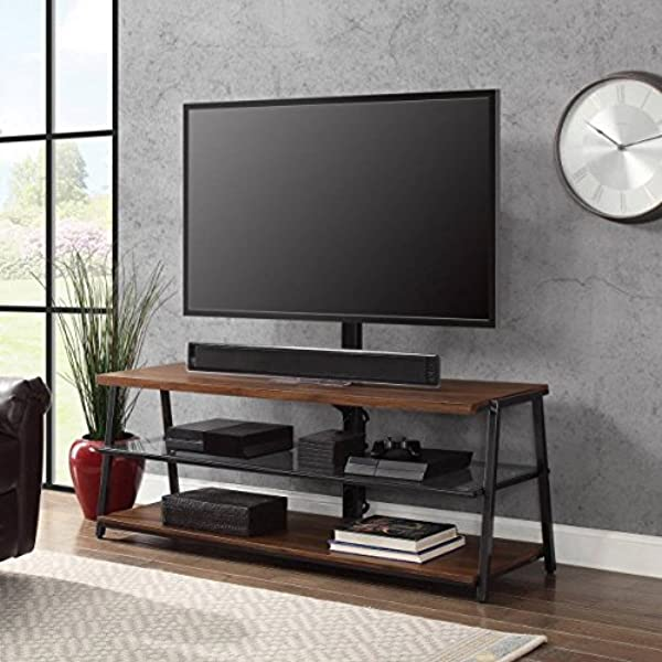 Mainstays 3 In 1 Medium Brown TV Stand For TV S Up To 70 Dimensions 59 75 W X 21 D X 22 55 75 H