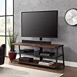 Mainstays 3-in-1 Medium Brown TV Stand for TV's up to 70', Dimensions: 59.75'W x 21'D x 22-55.75'H