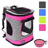 Pawsse Dog Backpack Pet Carrier Rucksack für Katzen und Hunde bis 15 Pfund Outdoor Travel Carrier für Haustiere Wandern, Walken, Radfahren & Outdoor 16' H x13.2 L x12 W Rosa
