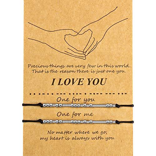Braccialetto Morse di San Valentine Braccialetto di I Love You Bracciale di Famiglia Amicizia Coppia Regalo (Perline d'Argento)