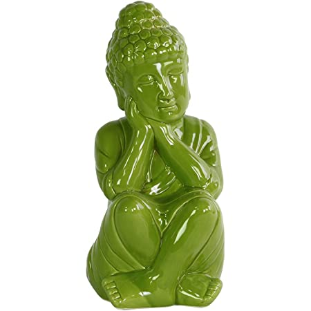 Amazon Com Urban Trends Ceramic Sitting Buddha Figurine With Rounded Ushnisha And Head On Hands In Gloss Finish Green Home Kitchen