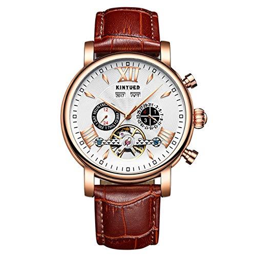 NO BRAND Reloj mecánico automático RelojesImpermeables para Hombres Calendario perpetuoCaja de Regalo Embalaje
