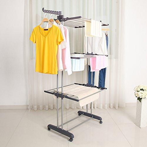 Tendedero vertical con ruedas giratorias, tendedero que ahorra espacio en 4 niveles y con 2 alas laterales plegables para secar la ropa interior o exterior (gris)