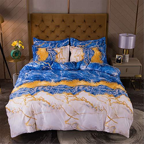 YYSZM Funda De Edredón Ropa De Cama Textiles para El Hogar Luz Estilo De Lujo Patrón De Mármol Dorado Juego De 3 Piezas Hipoalergénico 228x228cm