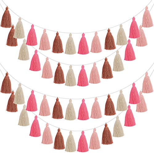 4 Pieces Patriotic Tassel Garland Colorful Tassel Banner Decorative Wall Hanging for Independence Day 4th of July, Festival, Pre-Assembled (Rose Red, Pink, Brown, Khaki,3.1 Inch)