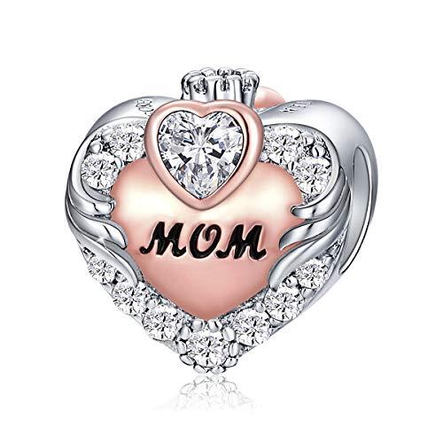 FOREVER QUEEN Love Heart Mom April Birthstone Charm for Bracelet 925...