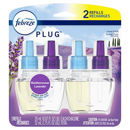 Febreze Plug in Air Freshener and Odor Eliminator, Scented Oil Refill, Mediterraenan Lavender, 2 count