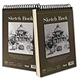 """9"""" x 12"""" Sketch Book, Top Spiral Bound Sketch Pad, 2 Packs 100-Sheets Each (68lb/100gsm), Acid Free Art Sketchbook Artistic Drawing Painting Writing Paper for Kids Adults Beginners Artists"""