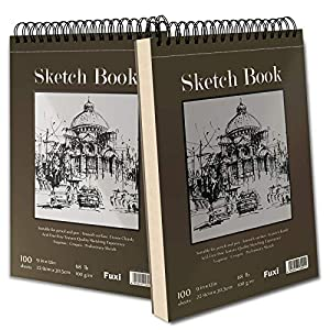 【Premium & Durable Material】--Extremely strong toughness and durability of this sketching paper pad allows for erasing without damaging paper surface, so it can stand up to multiple drawings without warping or penetrating. This spiral sketchbook can ...