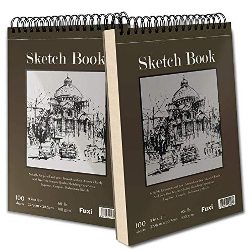 9' x 12' Sketch Book, Top Spiral Bound Sketch Pad, 2 Packs 100-Sheets Each...