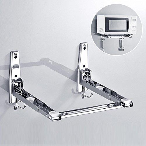 Soporte de pared para microondas, estante plegable de cocina, soporte de acero inoxidable, ajustable, extraíble, versión gruesa (201 normal, plata)