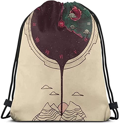 XCNGG Mochila con cordón para el anochecer, paquete de saco de gimnasio, paquete de cincha sólida, saco sinch, bolsa de cuerda deportiva con bolsillo, bolsa de playa, regalo para hombres y mujeres