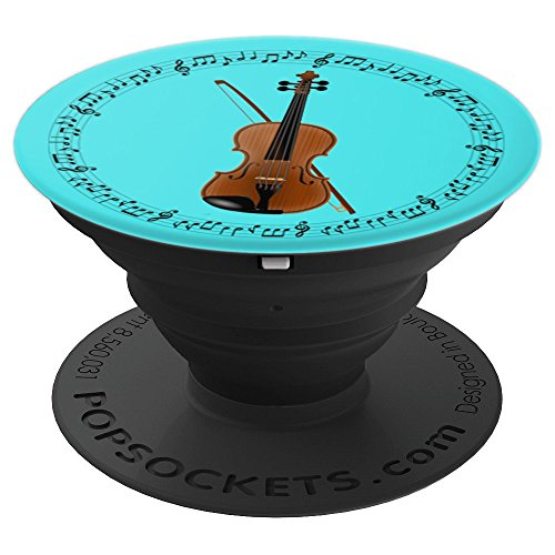 Violin Player Violinist Gift - Music Notes in Circle - Aqua PopSockets Grip and Stand for Phones and Tablets
