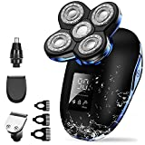 Electric Shaver for Men, OriHea 5 in 1 Head Shavers for Bald Men Electric Rotary Razor Beard Trimmer Grooming Kit IPX7-Waterproof, Faster-Charging LED Display USB Rechargeable - Blue