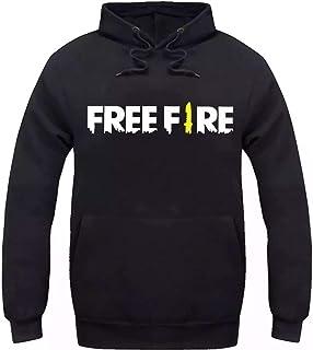Moletom Unissex Estampado Free Fire Game Mobile Cinza