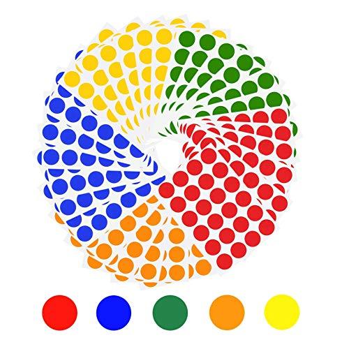 SIYI-XIU 19mm Etichette Rotonde Cerchio Adesivi Rotondi Piccoli Bollini Adesivi Colorati 30 Fogli 5 Colori 720 Pezzi per Ufficio Scuola Calendari Adesivi Mappa
