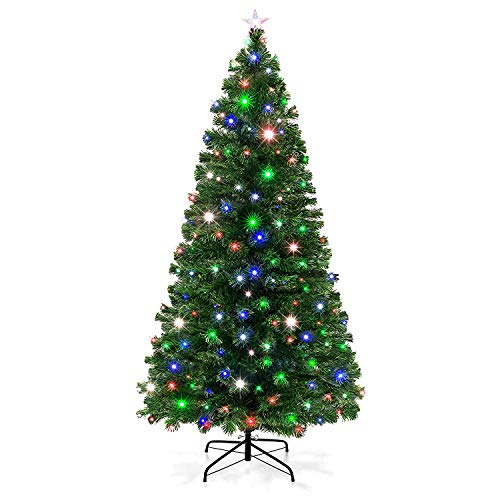 VEIKOU Artificial Christmas Tree Pre-Lit Fiber Optic Premium Spruce Hinged Tree, LED Lights & Metal Stand, UL-Certified Transformer (7 FT, 280 Branch Tips)