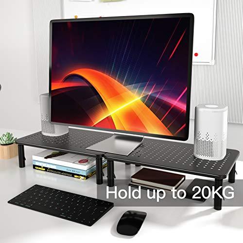HUANUO Monitorständer - 3 Höhenverstellbare Bildschirmerhöhung mit Gitterlochplattform für Laptop, Computer, PC, Drucker, Beamer bis zu 20 kg