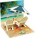 PopShots Studios Pop UP 3D Mini Karte Urlaub Geburtstag Grußkarte Beach 7,6x7,6cm