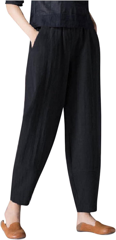 ZAKIO Women's Cotton Linen Baggy Pants Summer High Waist Cropped Capri Yoga Pants Loose Fit Casual Elastic Waist Trouser