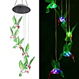 Solar String Lights, ZOUTOG Color Changing LED Mobile Hummingbird Wind Chimes, Waterproof Outdoor Solar Lights for Home / Yard / Patio / Garden