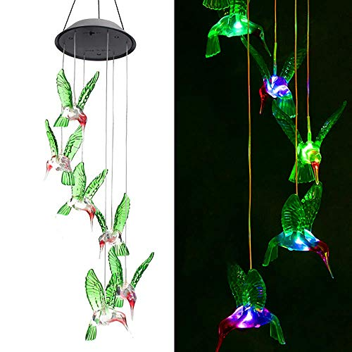 ZOUTOG Solar String Lights, Color Changing LED Mobile Hummingbird Wind Chimes, Waterproof Outdoor Solar Lights for Home/Yard/Patio/Garden