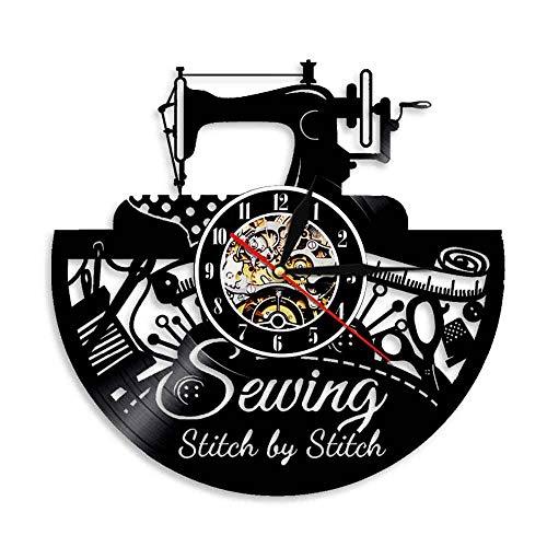 RRBOI Horloge Murale Stitch by Stitch Couture s Wall Art Vinyle Record Horloge Murale Machine À Coudre De Mode Décoration Murale Vintage Quilting Horloge Murale